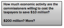 Text Box: How much economic activity are the           commissioners willing to cost the taxpayers to save $10           million?           $200 million? More?